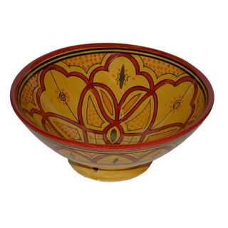 Handmade Yellow with Red Ceramic Bowl (Morocco)