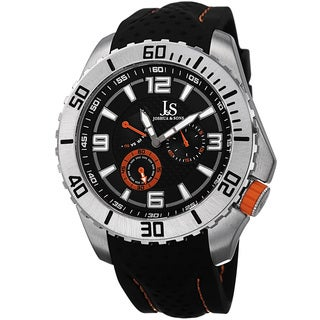 Joshua & Sons Men's Quartz Easy-to Read Multifunction Orange Strap Watch