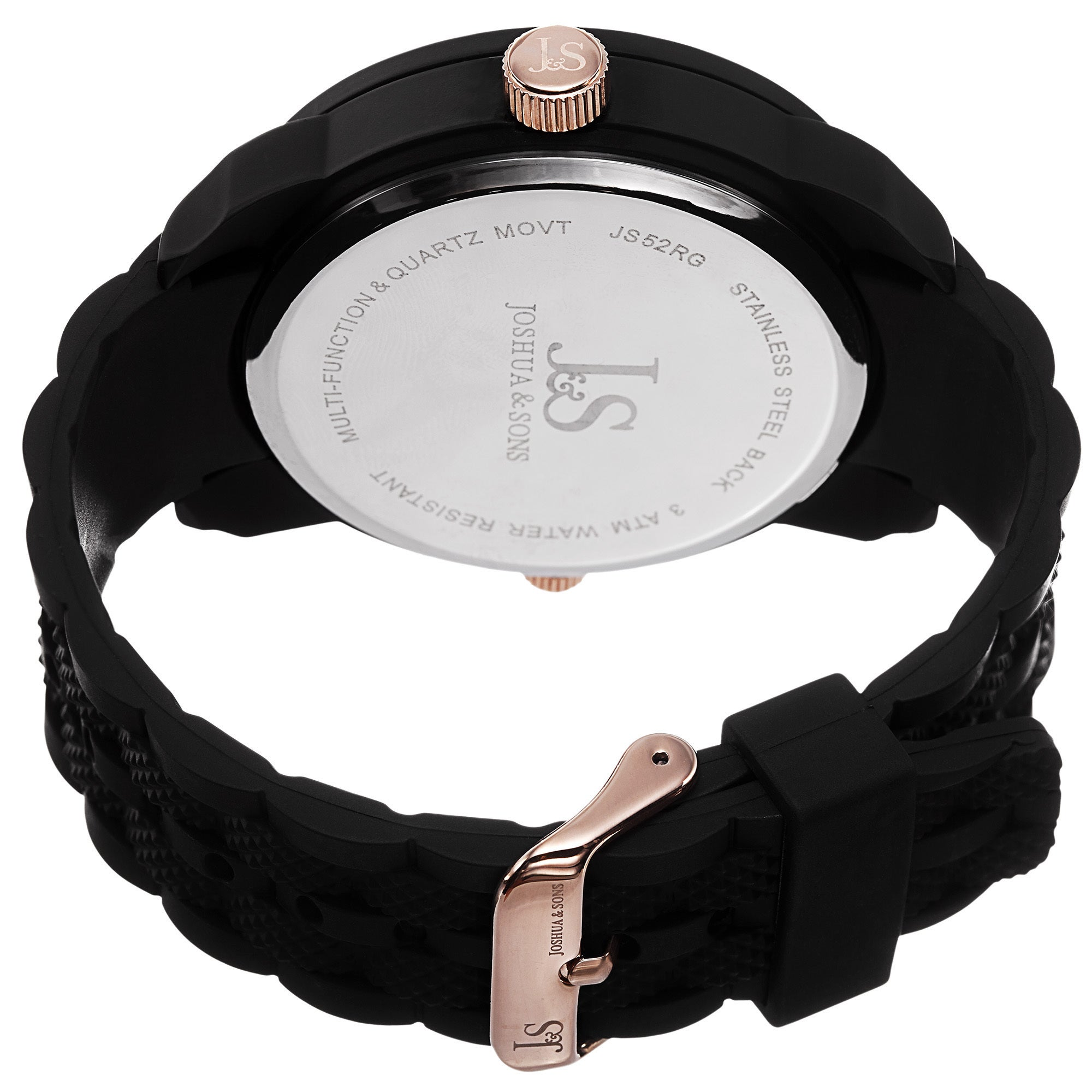 50a35165a97 Shop Joshua   Sons Men s Swiss Quartz Dual-Time Multifunction Embossed  Design Rose-Tone Strap Watch - GOLD - Free Shipping Today - Overstock.com -  10156827