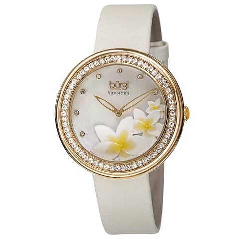 Burgi Women's Quartz Diamond Floral Plumeria Design White Strap Watch - GOLD
