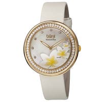 Burgi Women's Quartz Diamond Floral Plumeria Design White Strap Watch - GOLD