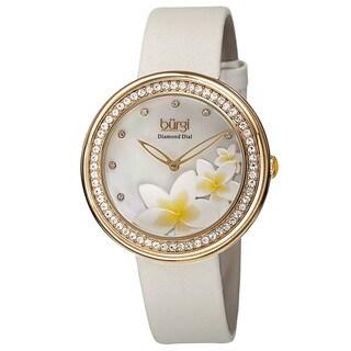 Burgi Women's Quartz Diamond Floral Plumeria Design White Strap Watch with FREE Bangle - GOLD