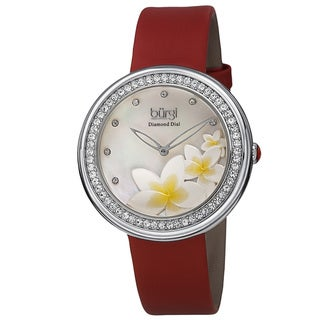 Burgi Women's Quartz Diamond Floral Plumeria Design Red Strap Watch