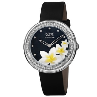 Burgi Women's Quartz Diamond Floral Plumeria Design Black Strap Watch
