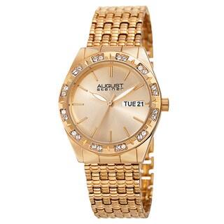 August Steiner Women's Quartz Swarovski Element Crystals Sunray Dial Gold-Tone Bracelet Watch