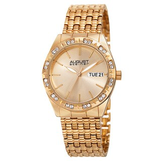 August Steiner Women's Quartz Swarovski Crystals Sunray Dial Gold-Tone Bracelet Watch - GOLD