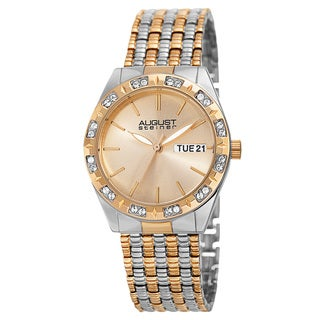 August Steiner Women's Quartz Swarovski Crystals Sunray Dial Two-Tone Bracelet Watch