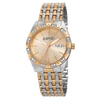 August Steiner Women's Quartz Swarovski Crystals Sunray Dial Two-Tone Bracelet Watch - Gold