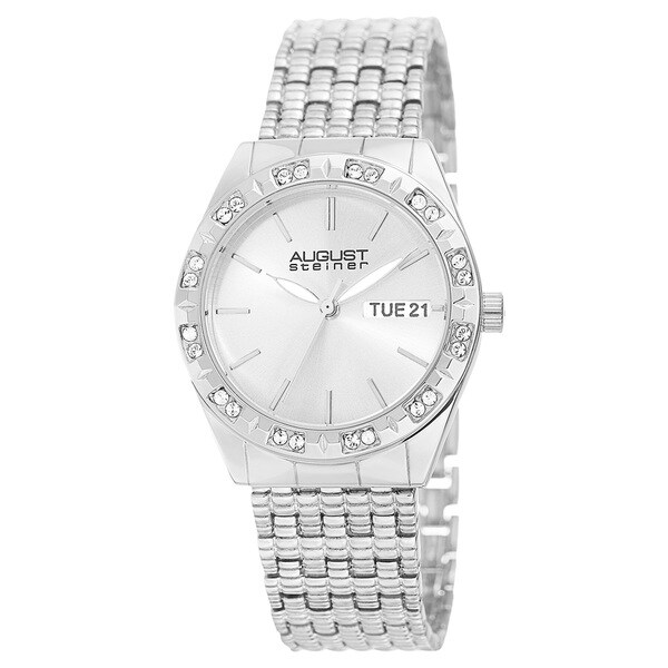 August Steiner Women's Quartz Swarovski Crystals Sunray Dial Silver-Tone Bracelet Watch with FREE Bangle - silver