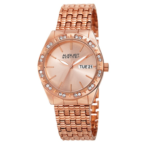August Steiner Women's Quartz Swarovski Crystals Sunray Dial Rose-Tone Bracelet Watch - GOLD