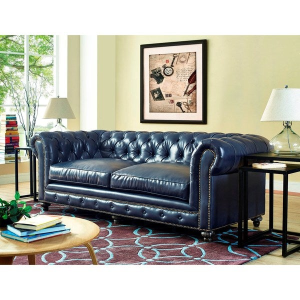 Shop Durango Rustic Blue Leather Sofa Free Shipping