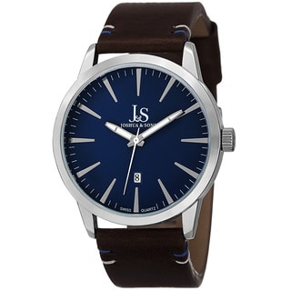 Joshua & Sons Men's Swiss Quartz Glossy Dial Contrast Stitching Leather Silver-Tone Strap Watch