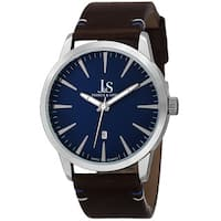 Joshua & Sons Men's Swiss Quartz Glossy Dial Contrast Stitching Leather Silver-Tone Strap Watch - BLue