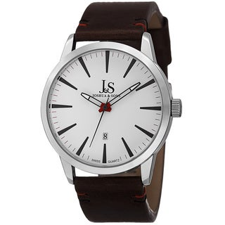 Joshua & Sons Men's Swiss Quartz Glossy Dial Contrast Stitching Leather Silver-Tone Strap Watch with FREE GIFT