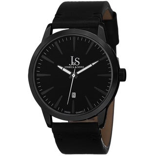 Joshua & Sons Men's Swiss Quartz Glossy Dial Contrast Stitching Leather Black Strap Watch
