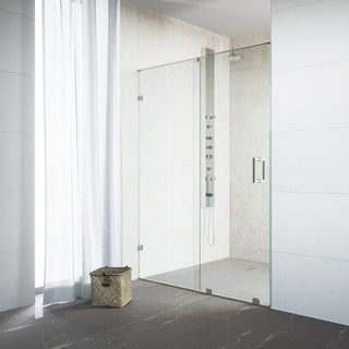 "VIGO Ryland 48-inch Frameless Shower Door with 3/8"" Clear Glass and Stainless Steel Hardware"
