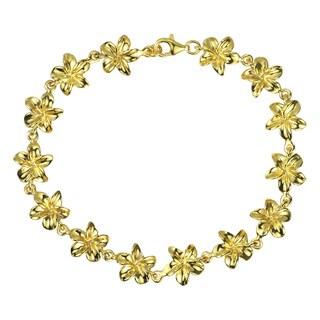 Handmade 22K Gold Plated Hawaiian Plumeria .925 Silver Bracelets (Thailand)