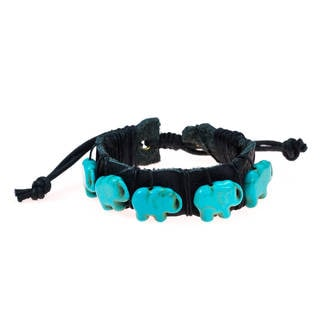 Elephants March Turquoise Leather Adjustable Bracelet (Thailand)