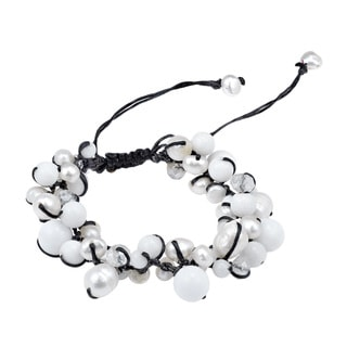 Pure Romance Pearl and Quartz Medley Cotton Rope Bracelet (Thailand)
