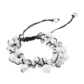 Handmade Pure Romance Pearl and Quartz Medley Cotton Rope Bracelet (Thailand)