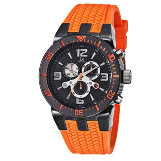 Joshua & Sons Sporty Men's Swiss Quartz Chronograph Orange Strap Watch
