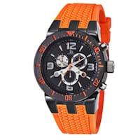 Joshua & Sons Sporty Men's Swiss Quartz Chronograph Orange Strap Watch