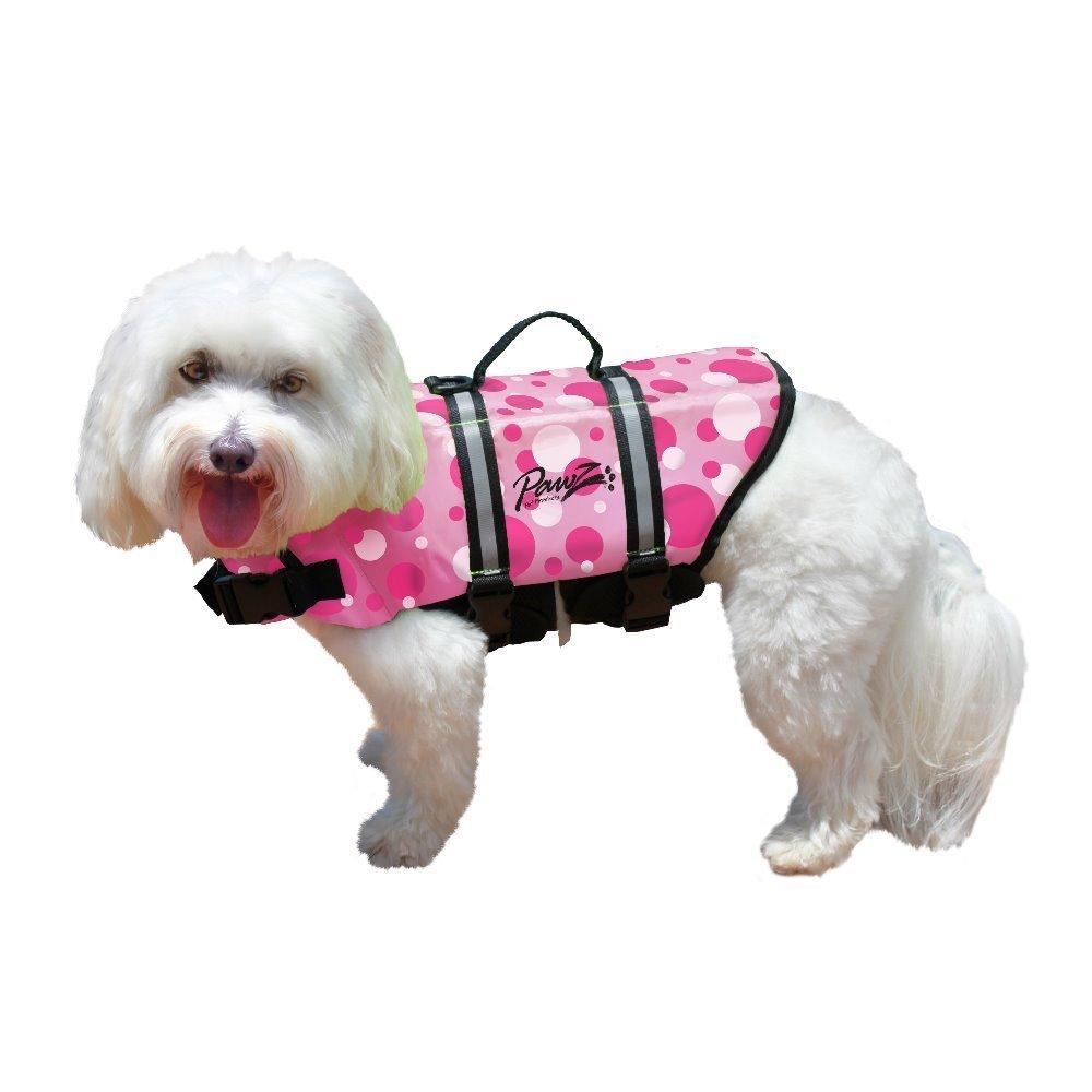 Pawz Pet Products Nylon Dog Life Jacket Pink Bubbles (Large)