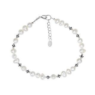 Handmade Mystic Links Freshwater White Pearl .925 Sterling Silver Bracelet (Thailand)