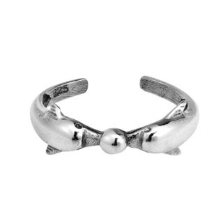Jumping Dolphin Wrap .925 Silver Toe or Pinky Ring (Thailand)