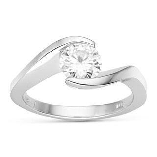 Charles & Colvard 14k Gold Round Forever Brilliant Moissanite Solitaire Ring