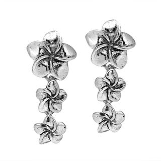 Tiered Hawaiian Plumeria .925 Sterling Silver Earrings (Thailand)