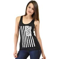Le Nom Women's American Flag Tank Top with Laser Cut Back
