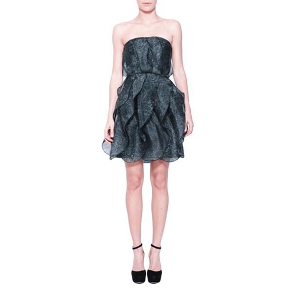 Halston Heritage Slate Grey Silk Strapless Ruffled Dress - Free ...