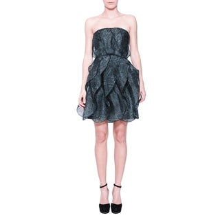 Halston Heritage Slate Grey Silk Strapless Ruffled Dress
