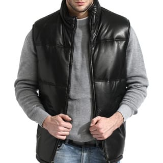 Men's Black Lambskin Leather Puffer Vest|https://ak1.ostkcdn.com/images/products/10156916/P17286201.jpg?impolicy=medium