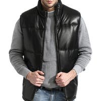 Men's Black Lambskin Leather Puffer Vest