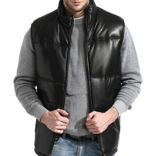 Men's Black Lambskin Leather Puffer Vest