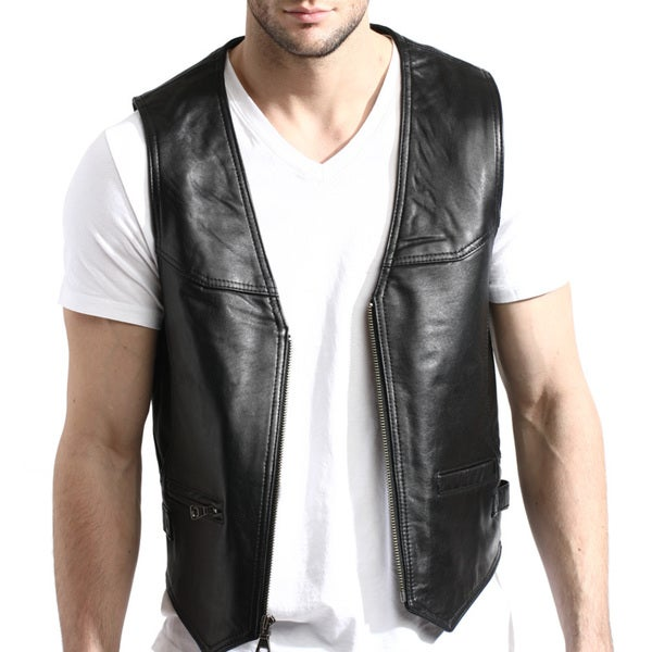 Mens Black Zip-front Lambskin Leather Vest