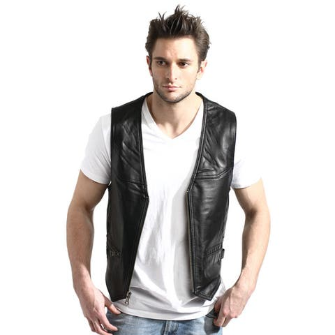Men's Black Zip-front Lambskin Leather Vest
