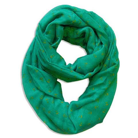 Peach Couture Emerald Nautical Anchor Infinity Loop Scarf