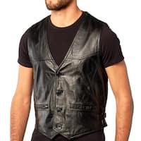 Men's Soft Black Lambskin Leather Vest