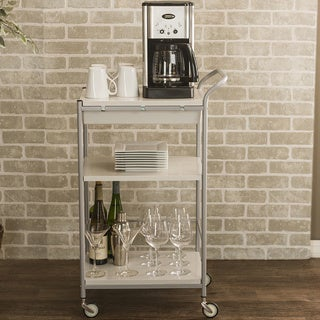 Baxton Studio Alexio White and Chrome Steel Trolley Cart with Drawer