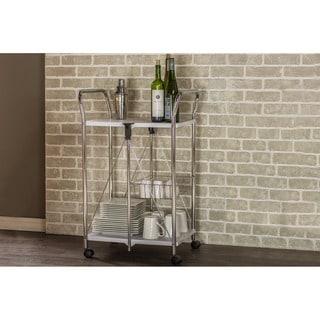 Baxton Studio Alekto Steel Foldable Serving Trolley Cart