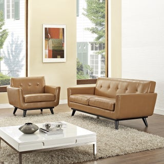 Absorb 2-piece Leather Armchair/ Loveseat Living Room Set - 2piece