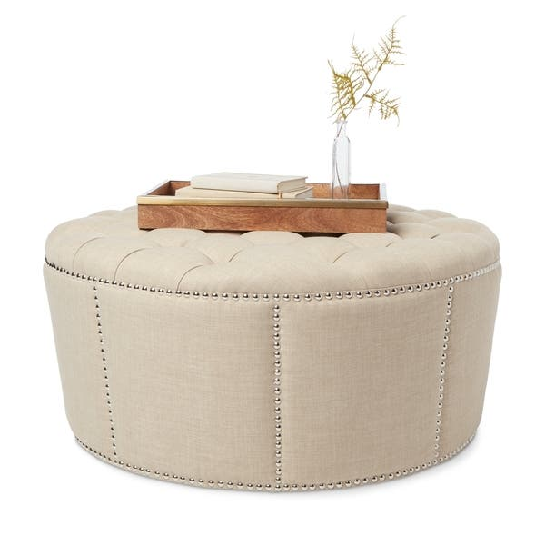 Astonishing Shop Abbyson Newport Beige Fabric Nailhead Trim Ottoman Caraccident5 Cool Chair Designs And Ideas Caraccident5Info