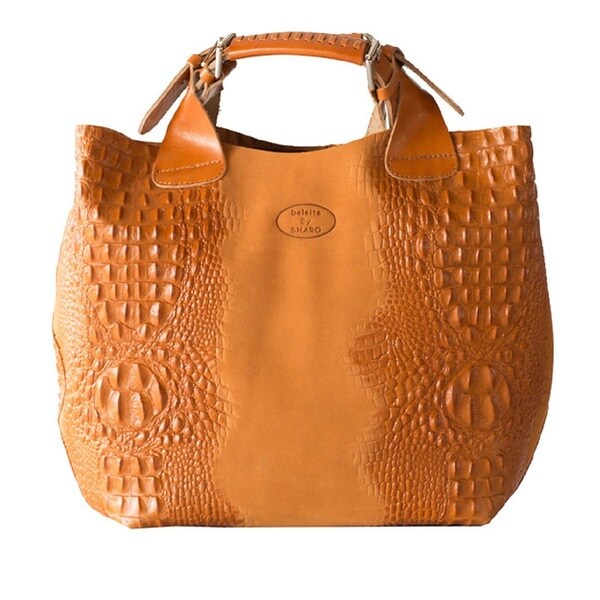 Deleite by Sharo Apricot Italian Leather Handbag Tote Bag - Free ...