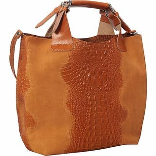 Deleite By Sharo Apricot Italian Leather Handbag Tote Bag