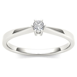 De Couer 10k White Gold 1/10ct TDW Diamond Classic Engagement Ring - White H-I