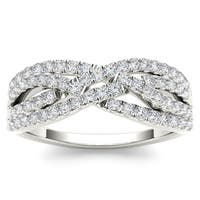 De Couer 10k White Gold 2/5ct TDW Diamond Wedding Band - White H-I