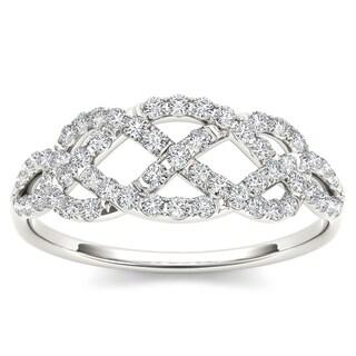 De Couer 10k White Gold 1/3ct TDW Diamond Wedding Band (H-I, I2)